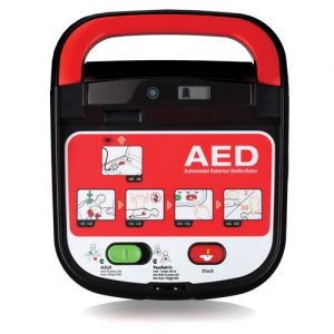 Mediana AED from Reliance Medical, easily switch from adult to paediatric mode, without changing pads.